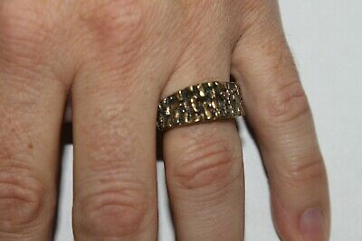 Men Vintage Fashion Abstract Raw Log Ring Brass Band Jewelry Hippie](Mens Hippie Jewelry)
