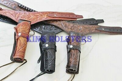 NEW 357 Cal Tooled Holster Gun Belt Drop Loop LEATHER Western RIG SASS Cowboy