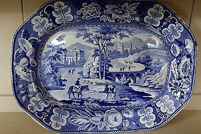 C1820 Blue & white country kitchen meat platter Italian scenery Leeds rippling