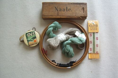 Vtg Antique Sewing Items LOT Duchess Embroidery Hoop Needle Box Linen Thread