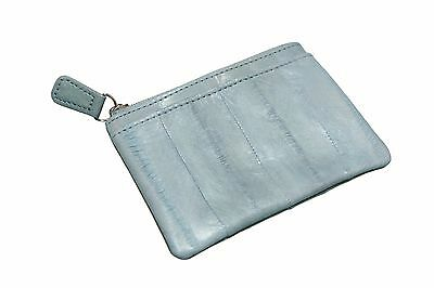 Genuine Eel Skin Leather - Small Rectangle Coin & Card Purse / Gray