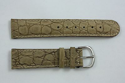 Nubuck Croco Grain 20mm Genuine Tan Leather Watch BAND Strap
