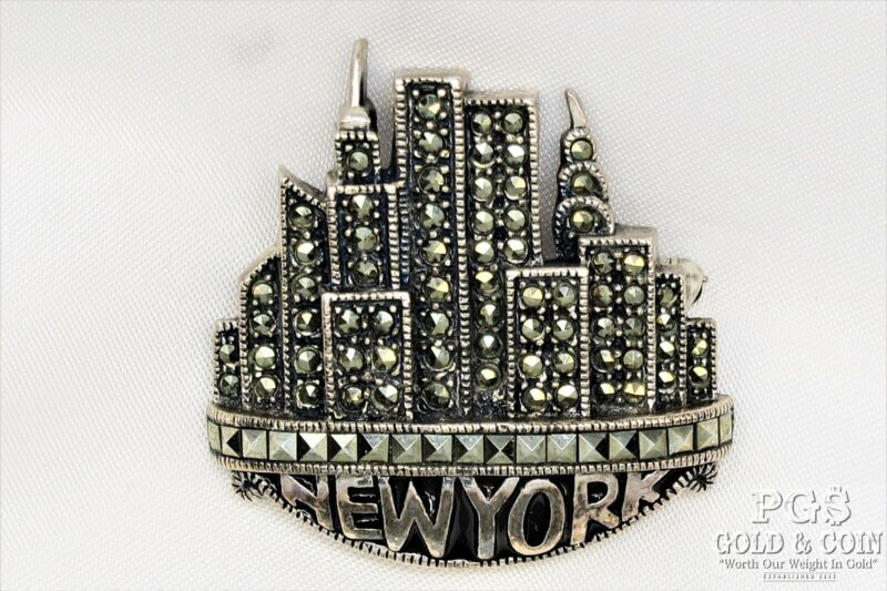 Vtg Judith Jack Sterling Silver New York City Skyline Pin 15gr Twin Towers 21098