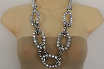 Fancy Women Grey Blue Pearl Beads Long Fashion Necklace Big Round Links - Long Pearl Grey Link Necklace