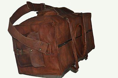 New Men's duffel genuine Leather large vintage travel gym Squre bag Duffle