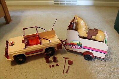 Vintage 1973 Western Barbie Jeep Travelin' Trailer Dallas Horse Accessories Lot