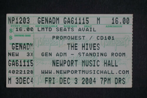 The Hives Tyrannosaurus Hives 2004 Ticket Stub Newport Music Hall Columbus Ohio
