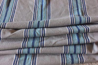 Indigo-Sky Blue-Gray Vintage French Cotton Ticking Fabric Yardage c1928