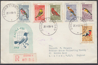 1968 Yugoslavia Birds Registered FDC, Zagreb to Stamp Collecting Weekly, London