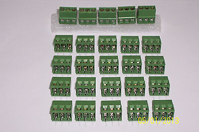 25 Pcs Of A 3 Pin Gangable Screw Terminal Block Connector 5 Mm  Nice
