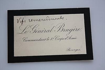 General Joseph Brugere  - Militär Frankreich - original Gruß auf Visitenkarte