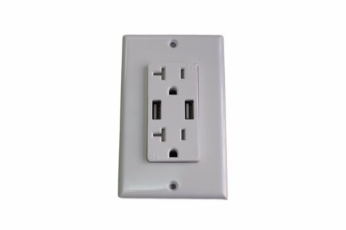 Dual Plug Electric Wall Socket Adapter with 2 USB Port Outlet Panel Switch USA