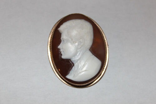 Unusual Vintage English 9k Yellow Gold John F. Kennedy Carved Cameo Brooch