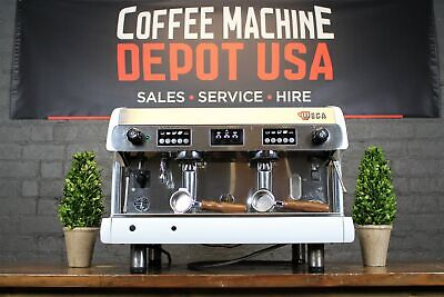 Wega Polaris High Cup - 2 Group - White With Wood Commercial Espresso Machine