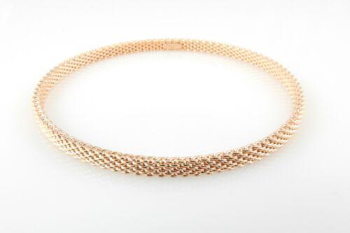 Tiffany & Co. 18K Rose Gold Somerset Mesh Bangle Bracelet 4mm #9498