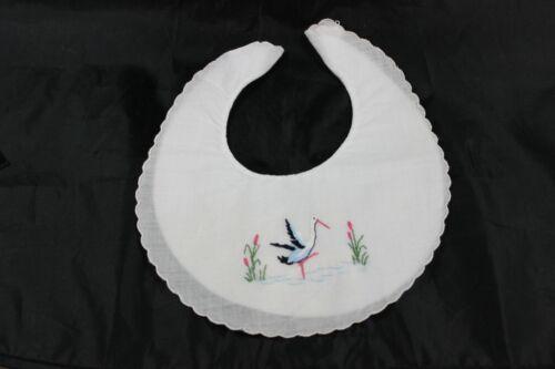 Vintage Embroidered Baby Bib Bird Crane Made for Jordan Marsh in Switzerland