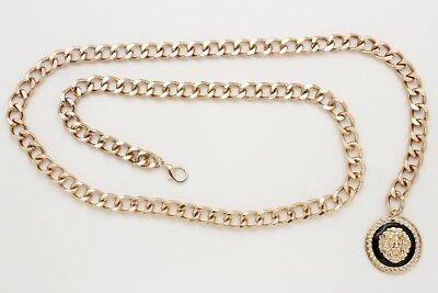 Women Fashion Gold Metal Chain Link Long Lion Buckle Belt Hip High Waist XL XXL