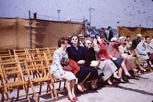 PEOPLE WAITING AT WILLOW RUN AIRPORT MICHIGAN 1955 VINTAGE 35MM SLIDE RED BORDER