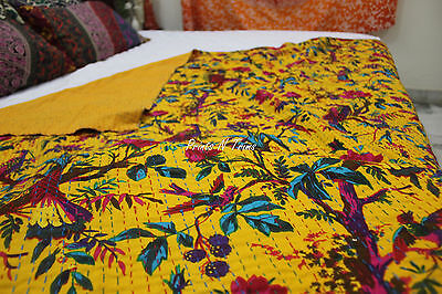 Indian Bird Kantha Quilt Reversible Throw Ralli Gudri King Size Blanket Yellow