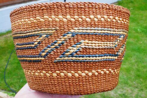 Antique Native Tsimshian Native Poly-chrome Hand Woven Basket -Geometric Design