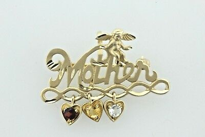 Michael Anthony 14K Yellow Gold Mother Cherub Angel Dangle Hearts Charm Brooch
