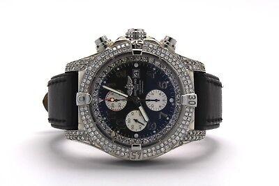 11CT Breitling Super Avenger A13370 Diamond Case Bezel Leather Strap