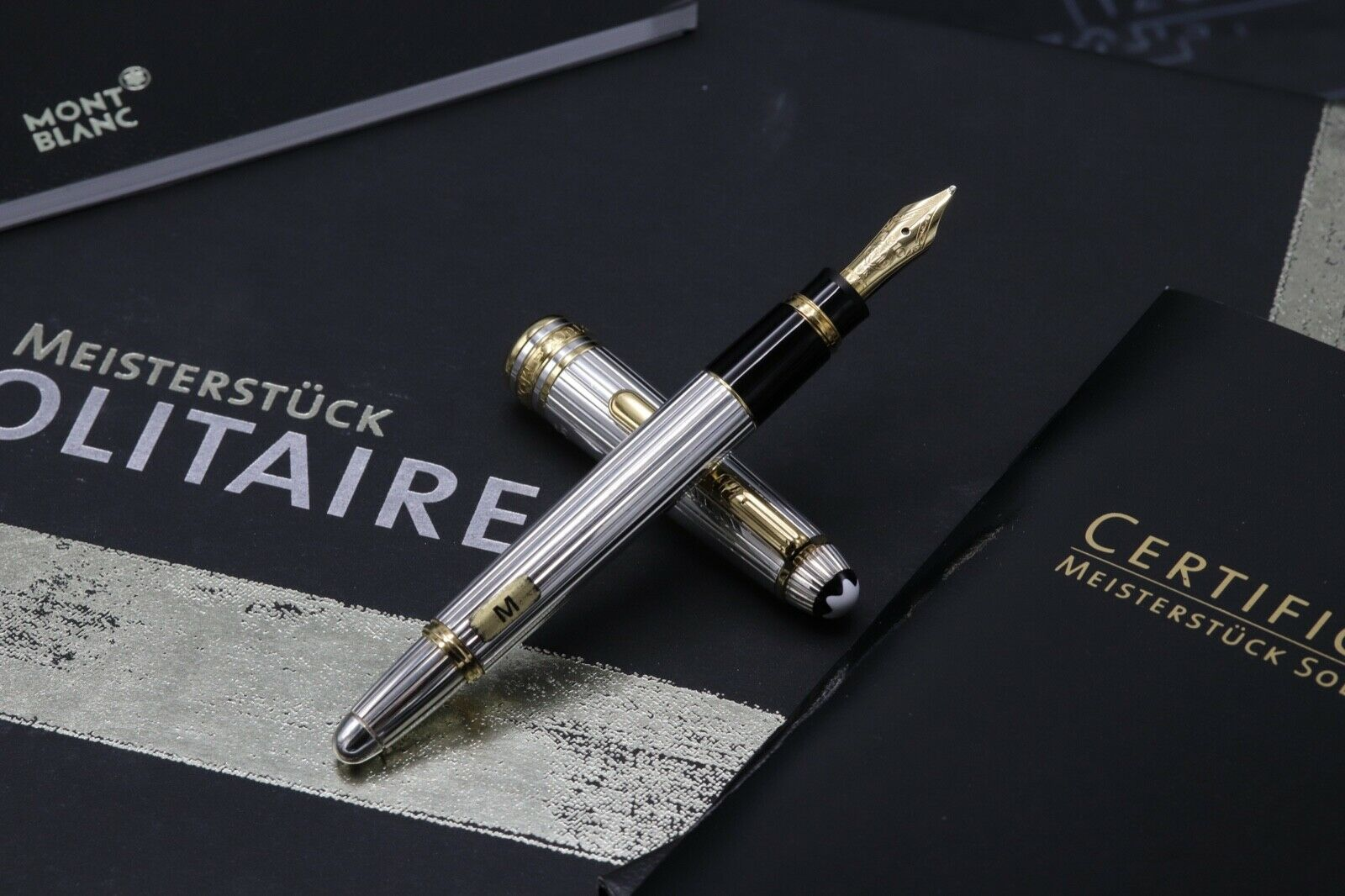 Montblanc Meisterstuck 114 Mozart AG925 Solitaire Pinstripe Fountain Pen 1