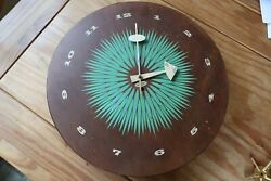 George Nelson for Howard Miller Eames Wall Clock Round Wooden Starburst MCM