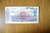 Assegno Bancario Banca Commerciale Italiana Filiale Londra 1937 Subalpina -  - ebay.it