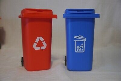 New 2 Desk Decor Pencil Holder Mini Red Recycling Bin Blue Garbage Can 6in