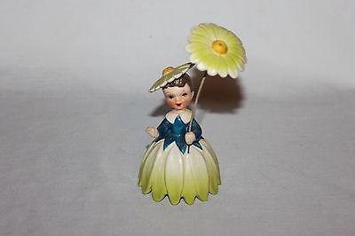 Vtg Napco Japan  Flower Daisy Girl Figurine Parasol Umbrella 1956-Repaired