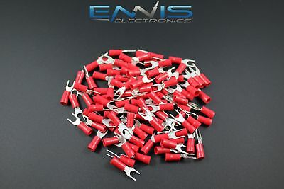 18-22 Gauge Vinyl Spade 10 Connector 100 Pk Red Crimp Terminal Awg Ga Car Suv
