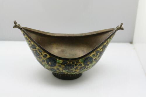 Vintage Beggar's Bowl Kashmir blue green Floral/Paper Mache& Brass