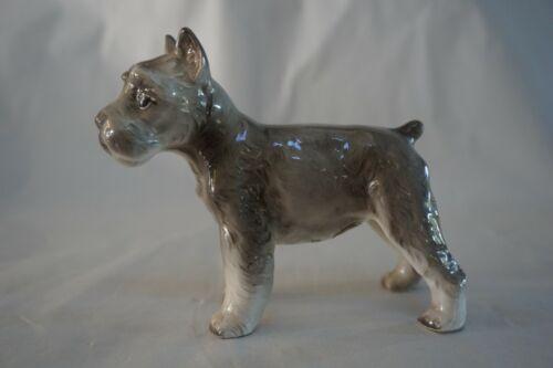 Vintage Inarco Porcelain Ceramic Gray Schnauzer Dog Figurine~Japan