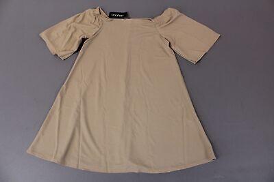 boohoo Women's Plus Maya Off The Shoulder Swing Dress SV3 Sand Size US:14 NWT