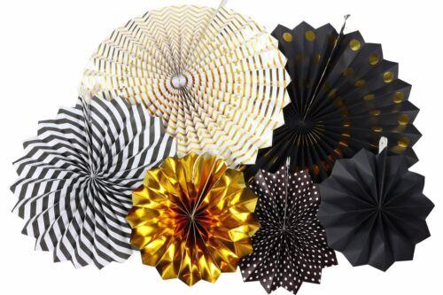 Party Chic Paper Fan Decoration Set of 6 Fans Black Gold Whi
