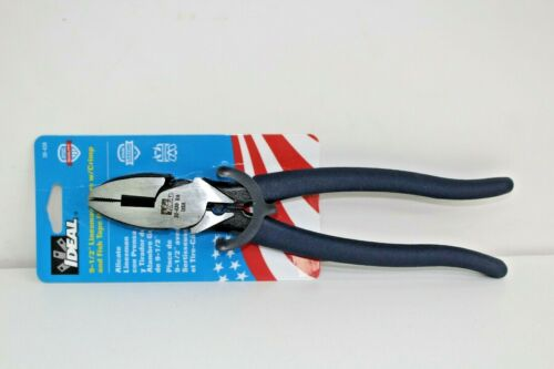 """Ideal 30 430 9 1/2"""" Linesman Plier with Crimp and Fish Tape Puller. BRAND NEW."""