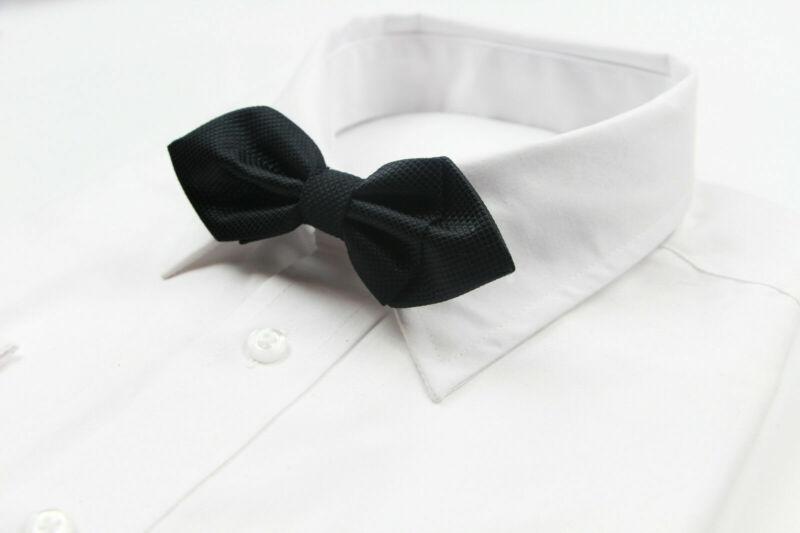 Mens Black Diamond Grid Solid Bow Tie Pre-tied Men