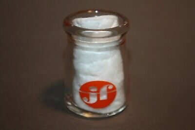 VINTAGE JF GOLDEN GUERNSEY MILK INDIVIDUAL GLASS ADVERTISING CREAMER BOTTLE
