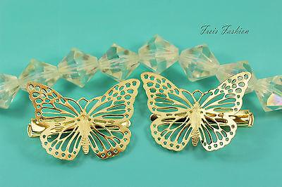 2x Haarklammer Haarspange Schmetterling gold Haarschmuck Jewelry Fashion A414 ()