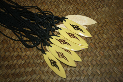 10 Airbrushed Wooden Surfboard Necklaces Wholesale Brown Yellow