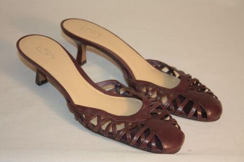 Ann Taylor Loft Womens Ladies Brown Leather Open Weave Mules Heels Size 10M