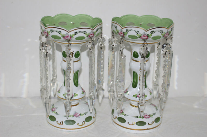 VINTAGE PAIR BOHEMIAN/CZECH GLASS MANTLE LUSTERS W/CRYSTAL PRISMS-WHITE/GREEN