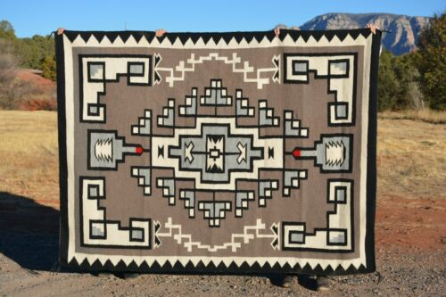 Large Navajo Indian Rug - Bold White Black Grey Traditional Design - 84 x 62