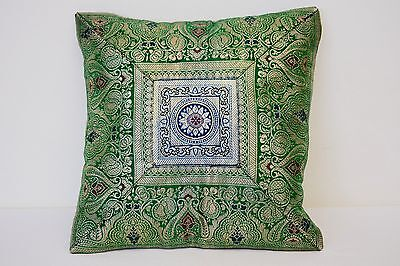KASHMERE 100% SILK OLIVE GREEN FLORAL PILLOW COVER CASE  SIZE 11