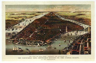 New York City, Old Image of Manhattan, Harbor & Bridge, Ships -- Modern Postcard