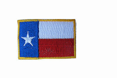 Texas State Flag Patch Embroidery Iron On Lone Star  Gold Border Small 1 5 8