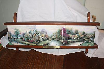 Thomas Kinkade 1997 3 Collector Plates w/ Display Shelf Lamplight Village
