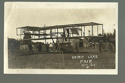 Spirit Lake IOWA RP1910 AIRPLANE at COUNTY FAIR Huge nr Lake Okoboji Estherville