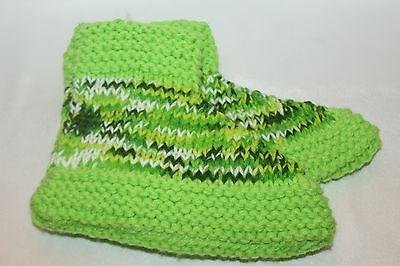 NEW! Womens Hand Knit Green Multi Cozy Warm Knit Slippers Booties Sz M